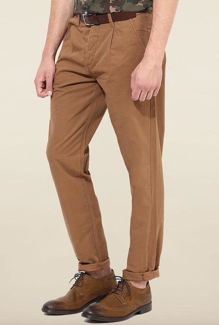Jack & Jones Brown Pleated Chinos