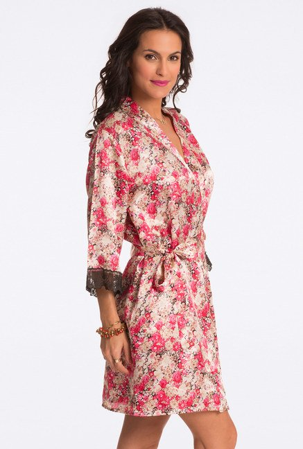 Pretty Secrets Red Floral Print Robe