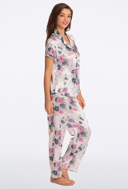 Pretty Secrets White Floral Print Top & Pyjama Set