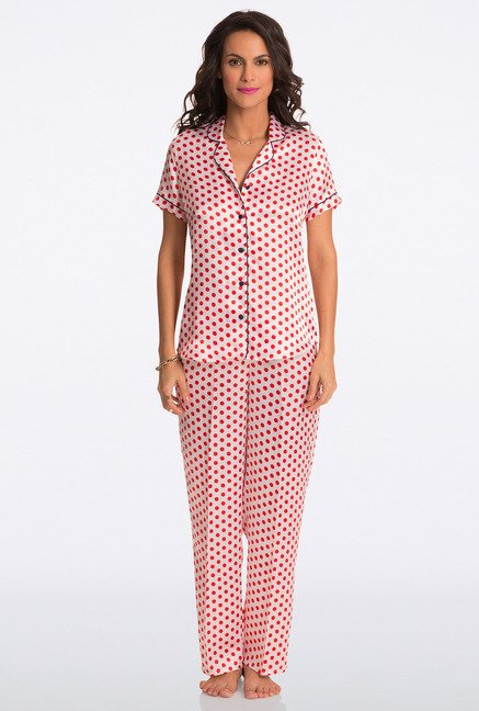 Pretty Secrets Ivory Polka Dot Top & Pyjama Set