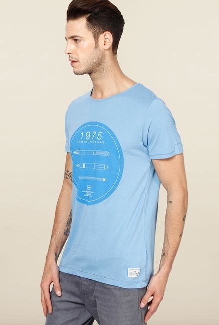 Jack & Jones Blue Printed Round Neck T-Shirt