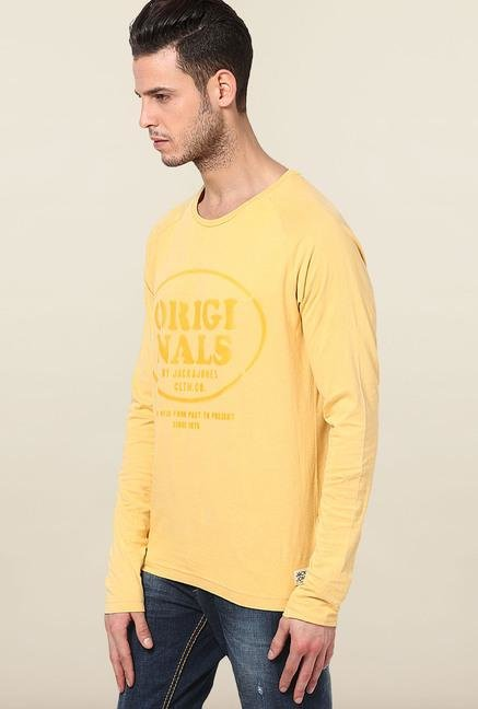 Jack & Jones Yellow Printed T-Shirt
