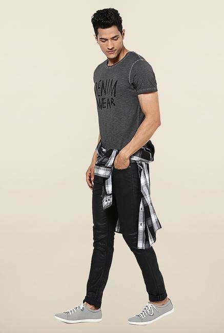 Jack & Jones Dark Grey Printed Round Neck T-Shirt