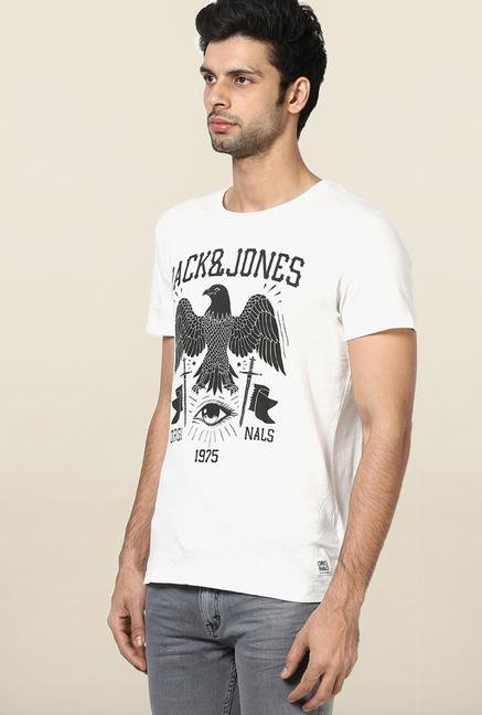 Jack & Jones White Printed Cotton T-Shirt