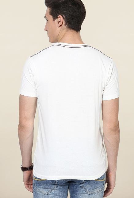 Jack & Jones White Printed Crew Neck T-Shirt