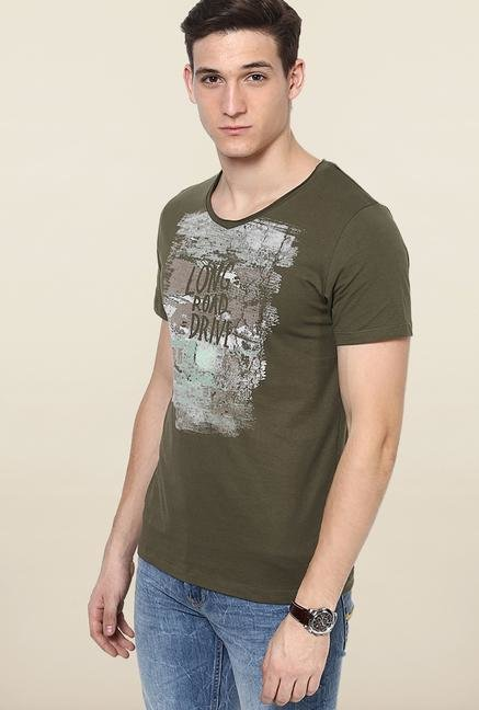 Jack & Jones Olive Round Neck T-Shirt