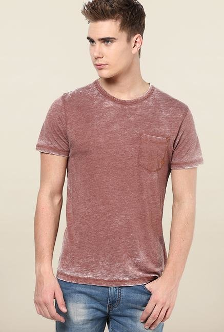 Jack & Jones Maroon Solid T-Shirt