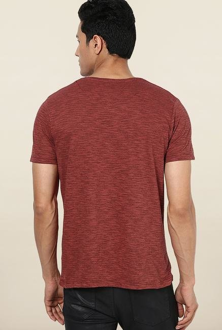 Jack & Jones Maroon Printed Slim Fit T-Shirt
