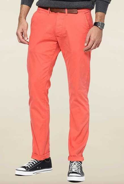 Jack & Jones Peach Solid Chinos