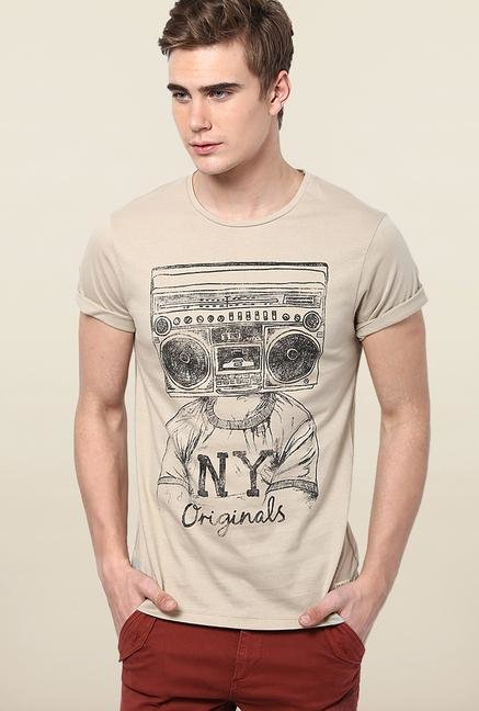 Jack & Jones Beige Cotton T-Shirt