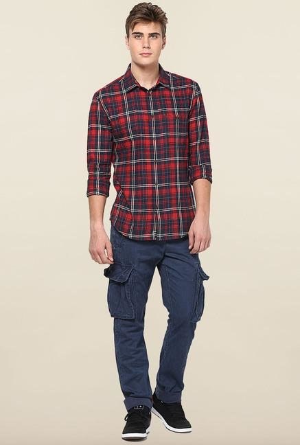 Jack & Jones Blue Solid Cotton Cargo
