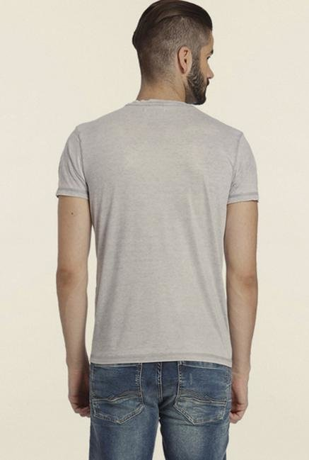 Jack & Jones Grey Printed Crew T-shirt
