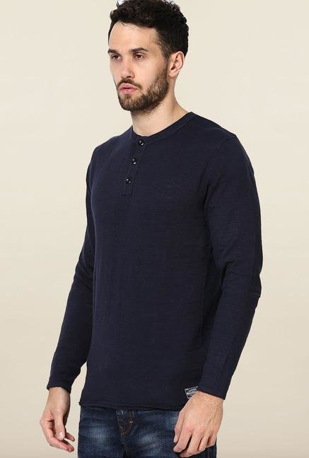 Jack & Jones Navy Solid Cotton Sweatshirt
