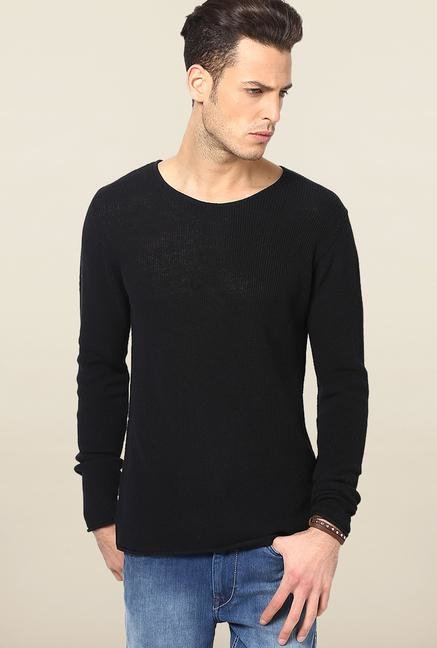 Jack & Jones Black Solid Cotton Sweatshirt