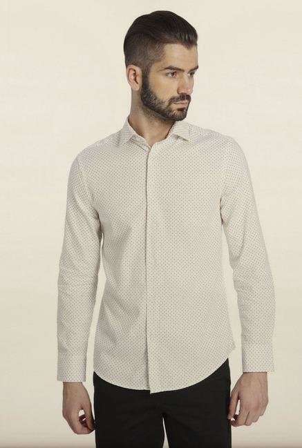 Jack & Jones White Polka Dot Slim Fit Casual Shirt