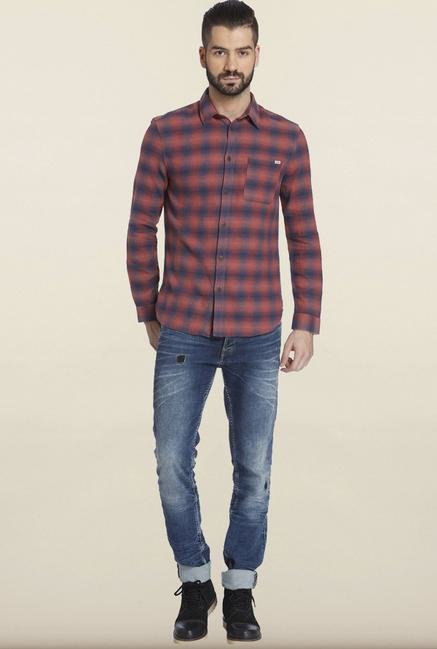 Jack & Jones Red Cotton Casual Shirt