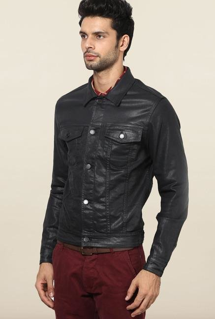 Jack & Jones Black Solid Casual Jacket