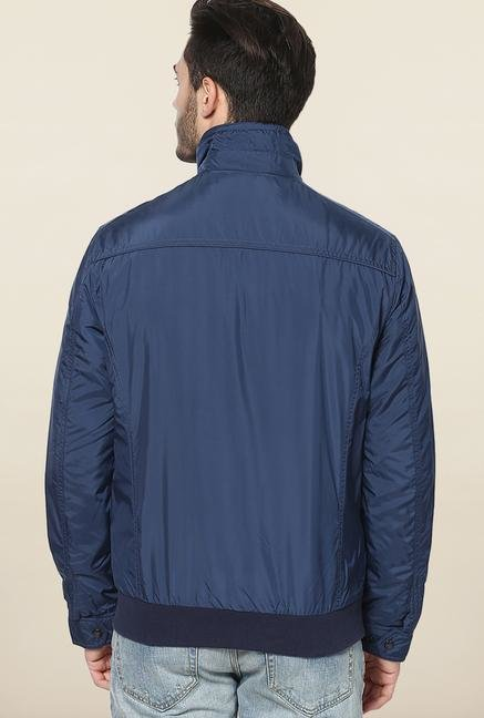 Jack & Jones Blue Solid Casual Jacket