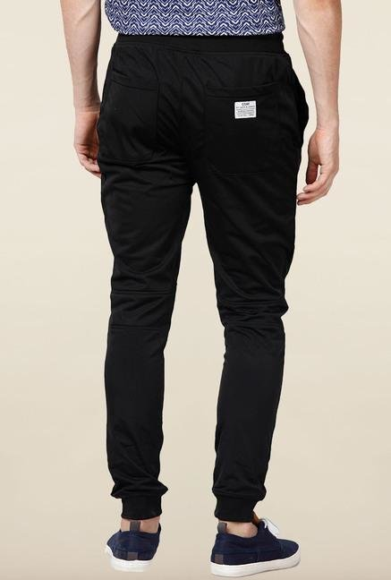 Jack & Jones Black Solid Track Pant