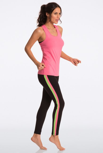 Pretty Secrets Black & Coral Green Ultimate Workout Leggings