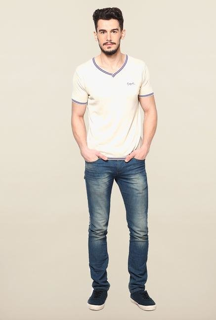 Jack & Jones Beige Solid T-Shirt