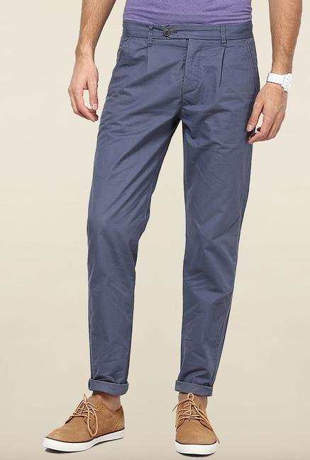 Jack & Jones Blue Pleated Chinos