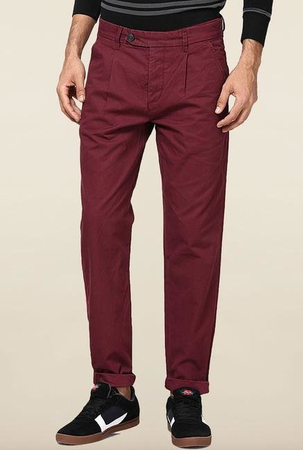 Jack & Jones Maroon Solid Cotton Chinos