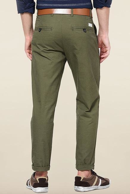 Jack & Jones Green Pleated Cotton Chinos