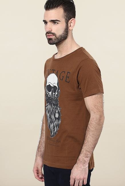 Jack & Jones Brown Printed T-Shirt