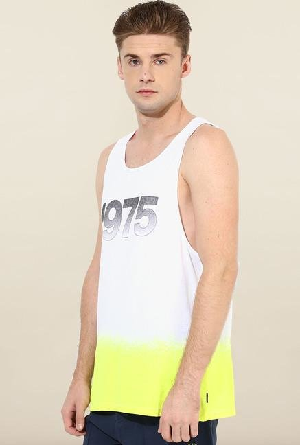 Jack & Jones White & Yellow Cotton Vest
