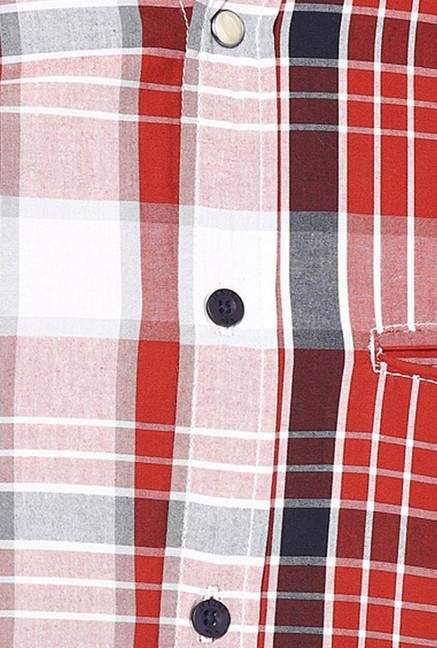 Jack & Jones Red And White Checks Casual Shirt