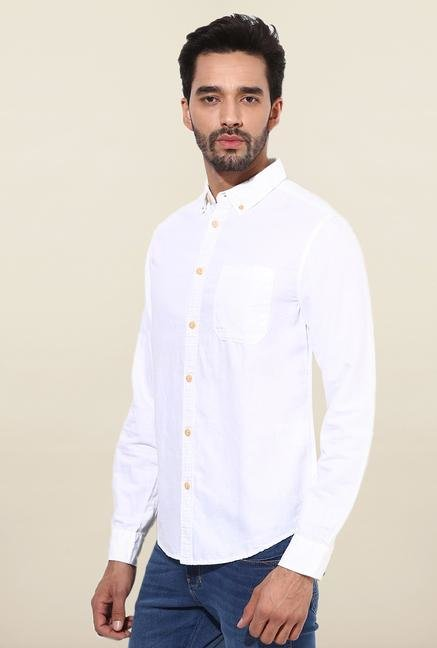 Jack & Jones White Solid Slim Fit Casual Shirt
