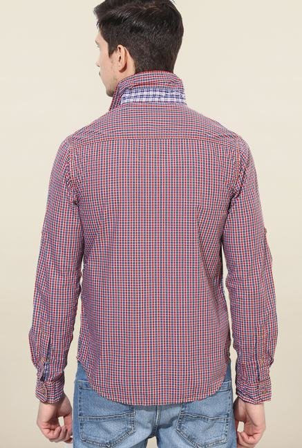 Jack & Jones Red And Blue Checks Casual Shirt