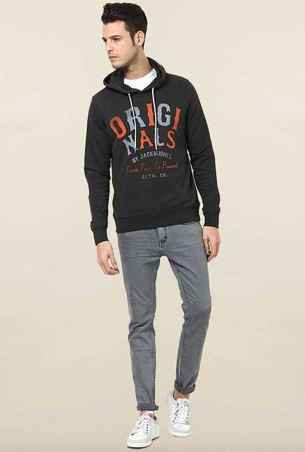 Jack & Jones Black Cotton Hoodie