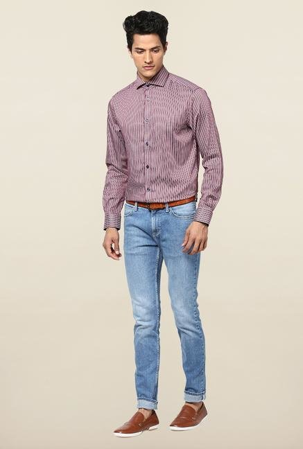Jack & Jones Maroon Striped Casual Shirt