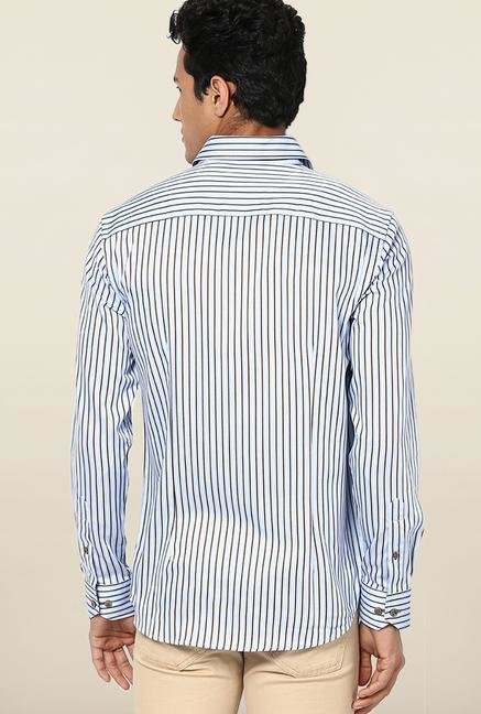 Jack & Jones Blue Striped Slim Fit Casual Shirt