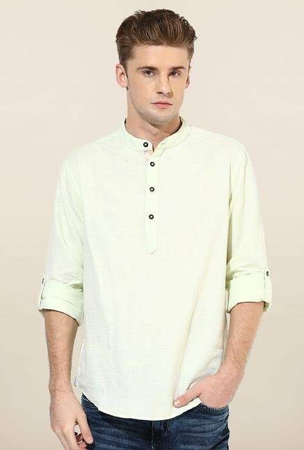 Jack & Jones Yellow Solid Cotton Casual Shirt