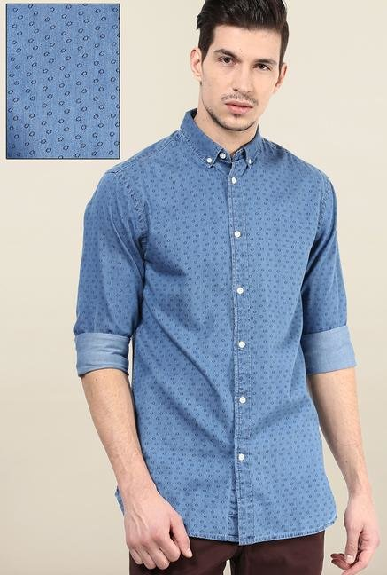 Jack & Jones Blue Button Down Printed Casual Shirt