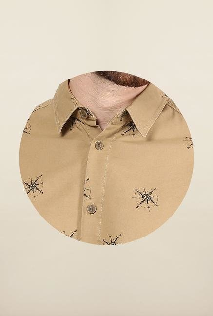 Jack & Jones Beige Printed Casual Shirt