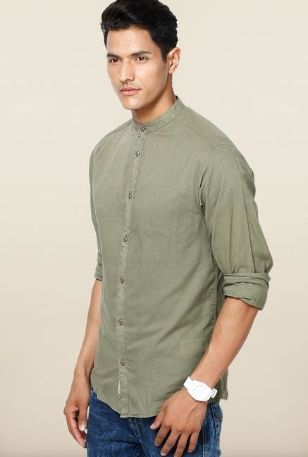 Jack & Jones Olive Solid Cotton Casual Shirt