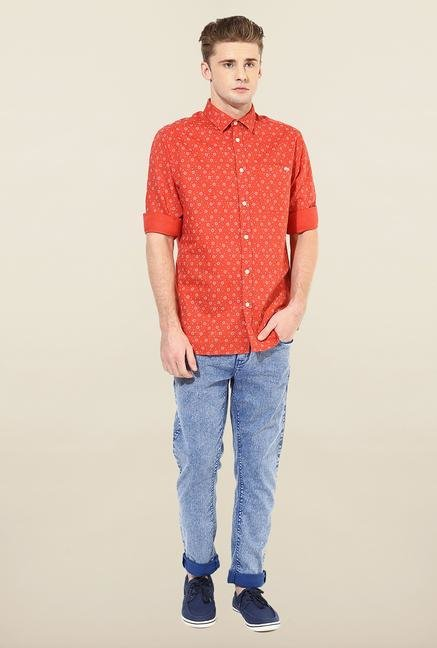 Jack & Jones Orange Printed Casual Shirt
