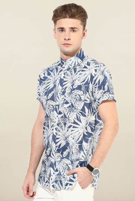 Jack & Jones Navy And White Floral Printed Shirt