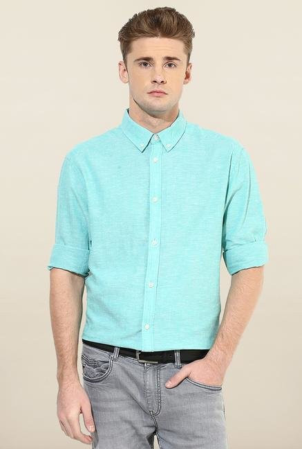 Jack & Jones Aqua Blue Solid Casual Shirt