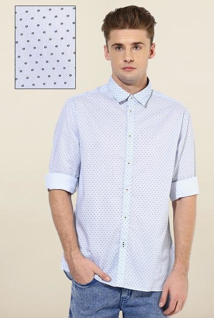 Jack & Jones Blue Printed Casual Shirt