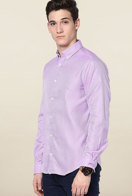 Jack & Jones Lavender Self Printed Casual Shirt