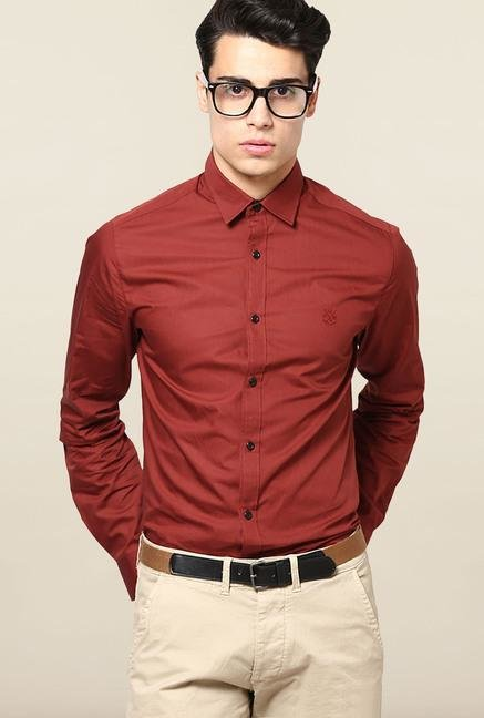 Jack & Jones Maroon Solid Casual Shirt