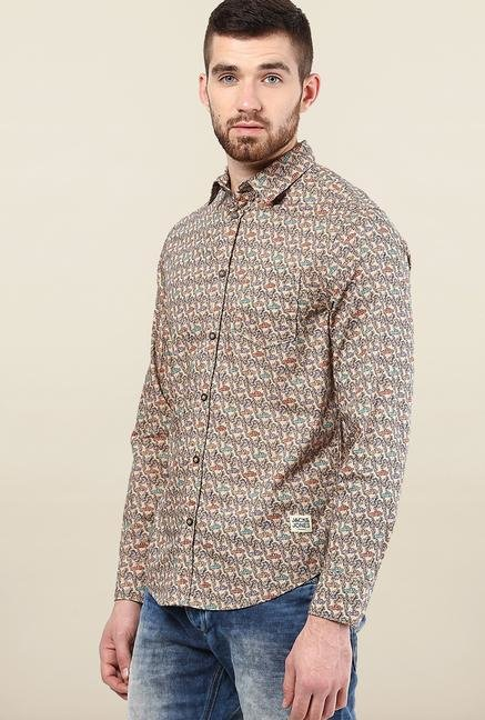 Jack & Jones Beige Printed Slim Fit Cotton Shirt