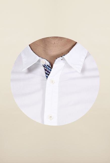 Jack & Jones White Solid Cotton Casual Shirt