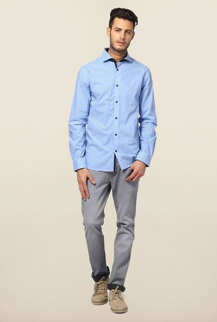 Jack & Jones Blue Solid Slim Fit Casual Shirt