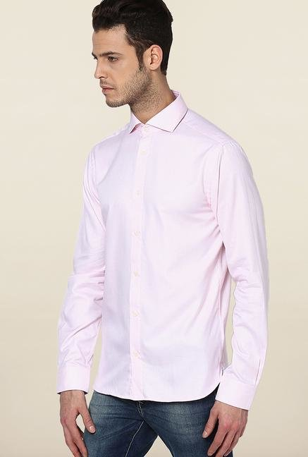 Jack & Jones Pink Self Printed Casual Shirt